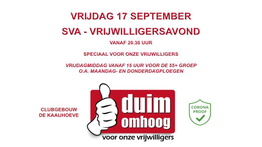 Vrijdag 17 september SVA Vrijwilligersdag